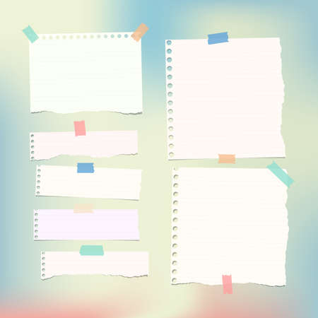 note paper background: White ruled, note, notebook, copybook paper strips and sheets stuck on colorful gradiant background