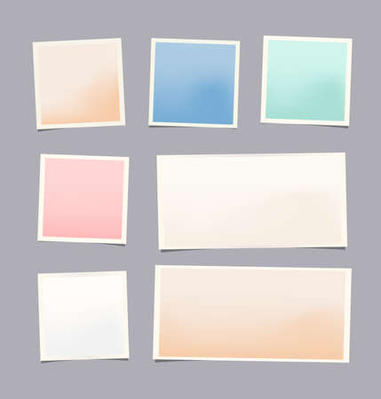 note board: Set of colorful notepad paper sheet with frame Illustration