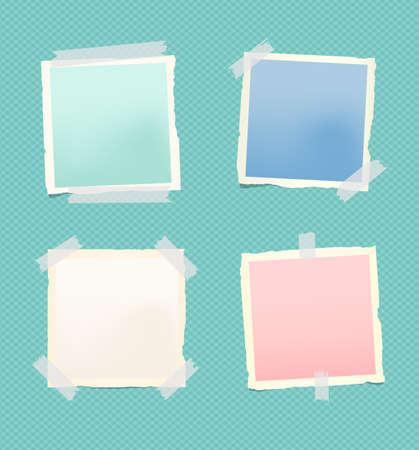 Conjunto de hoja de papel de bloc de notas colorido rasgado con marco pegado en patrón cuadrado
