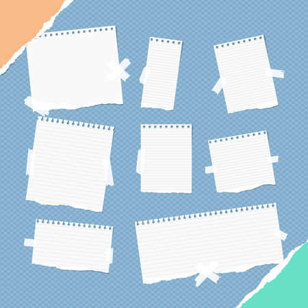 Pieces of different size ruled white note, notebook, copybook sheets, strips stuck with sticky tape on squared blue background and ripped paper in corners.