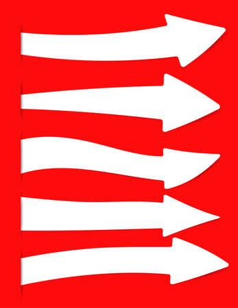 inserted: White arrows banner, directional sign inserted into red cut paper.