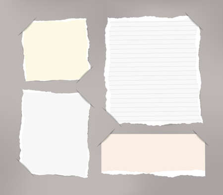 blank note: Pieces of torn white, pastel blank and ruled note copybook.