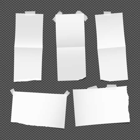 note paper background: Unfolded ripped white card, note paper or blank brochure, leaflet with shadow stuck with sticky tape on dark background