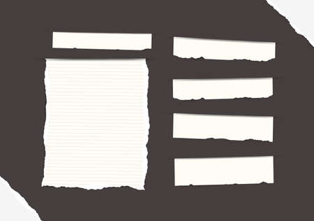 Pieces of torn white blank and ruled note, copybook, notebook strips, sheets inserted into black background with paper in corners