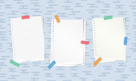 post: Ripped white notebook, copybook paper sheets stuck with colorful sticky tape on blue rounded lines pattern Illustration
