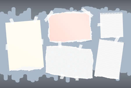 note paper background: Different size colorful note, notebook, copybook paper stuck with sticky tape on blue background