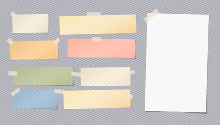 ホワイト、カラフルな白紙のメモ、ノート、お手本シートが四角い灰色の背景に粘着テープで立ち往生