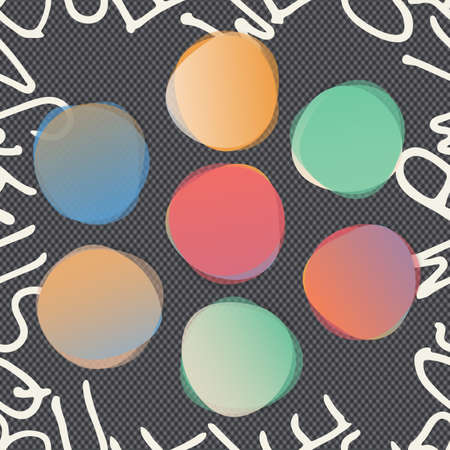 Stacked round colorful watercolor vector shapes. Abstract banners. Squared black background with white alphabet letters Illustration