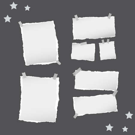 note paper background: Ripped white note, notebook, copybook paper sheets, stars, stuck with sticky tape on black background.