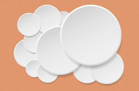 Round offer paper sticker or badges, white banners set. Circle buttons. Vector label tag on orange squared background. Illustration