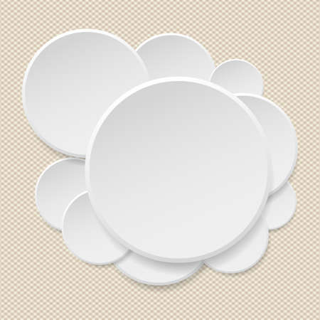 paper tag: Round offer paper sticker or badges, white banners set. Circle buttons. Vector label tag on brown squared background.