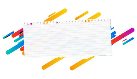 Ripped ruled note, notebook, copybook paper strip stuck on lined colorful background.