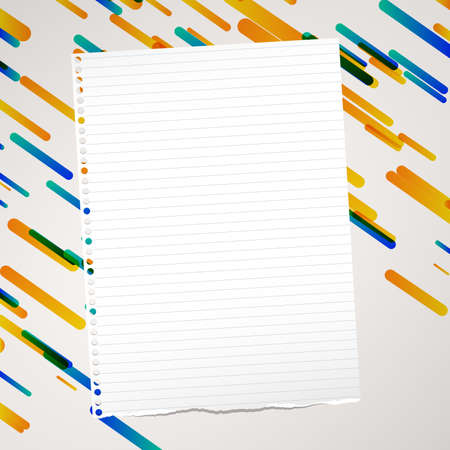 Ripped ruled note, notebook, copybook paper sheet stuck on lined colorful background.