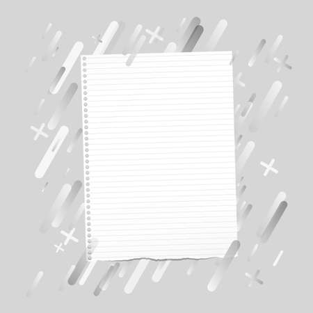 ruled: Ripped ruled note, notebook, copybook paper sheet stuck on lined gray background. Illustration