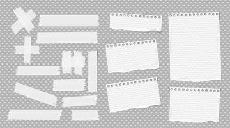 attachment: White ripped notebook, copybook sheets, sticky, adhesive tape stuck on grey dotted pattern. Stock Photo