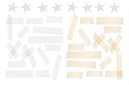 cut paper: White and brown different size adhesive, sticky tape, paper pieces with stars.