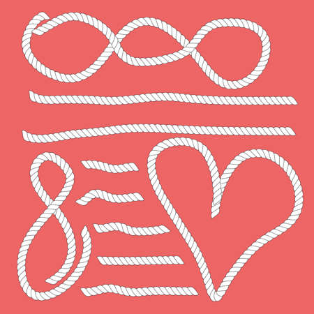 Heart, lines and other symbols created of white ropes.