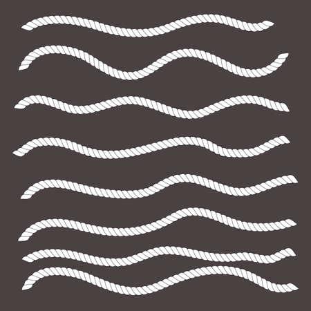 cordage: Wavy shapes horizontal white ropes.