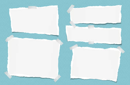 Ripped white note, notebook, copybook paper strips stuck with sticky tape on squared blue background. Ilustração