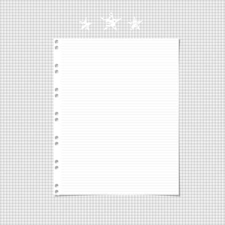White ruled, striped notebook, copybook paper sheet and stars on gray squared background.