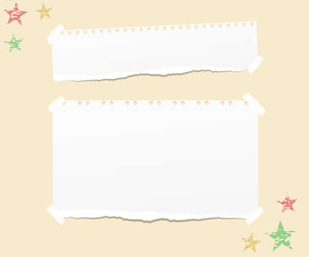 Ripped white note, notebook, copybook paper strips stuck with sticky tape, stars on yellow background. Ilustração