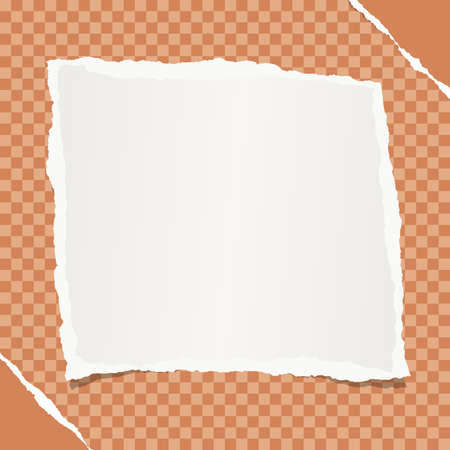 White note, notebook, copybook paper stuck on orange squared background.