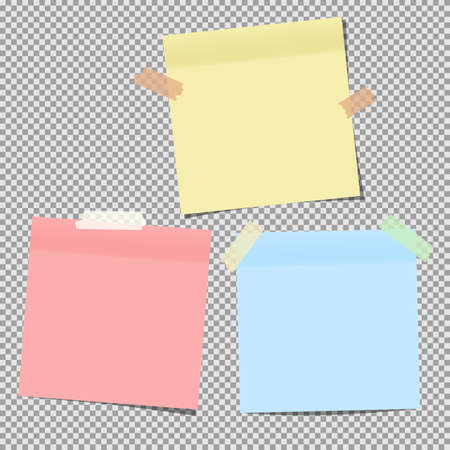 Colorful note paper stuck on grey squared background..