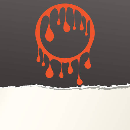 Pieces of ripped black blank paper strip, shred with orange leaked circle Illustration