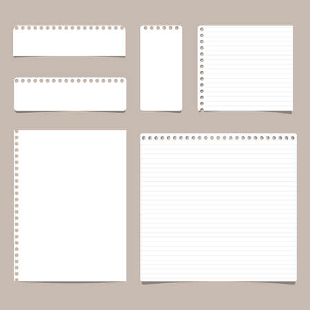 Set of different size ruled and blank note, notebook, copybook paper sheets