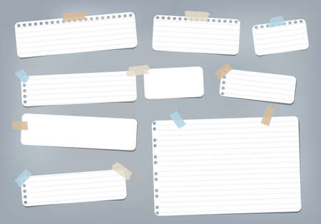 White striped, ruled note, copybook, notebook paper stuck with sticky tape on blue background. Illustration