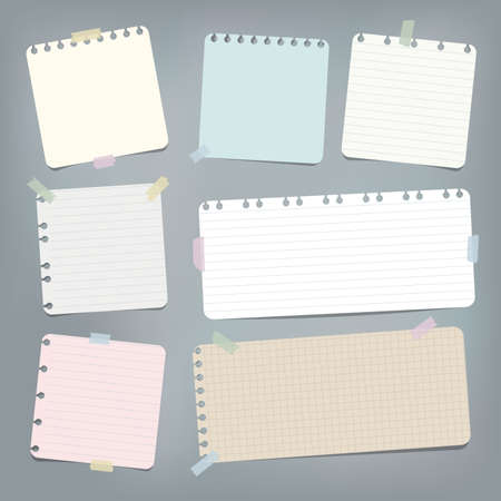 Colorful striped, ruled note, copybook, notebook paper stuck with sticky tape on grey background.