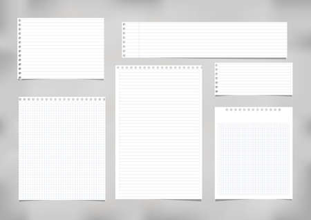 White striped, ruled, squared note, copybook, notebook paper stuck on grey background Illustration