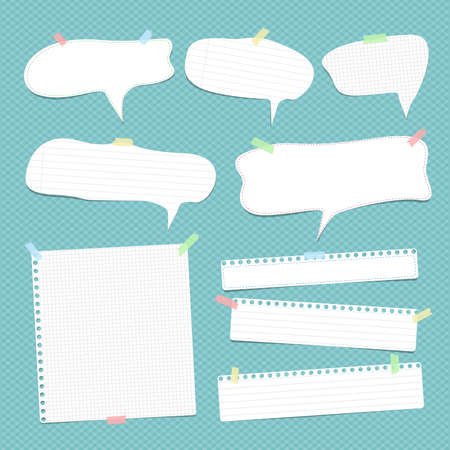 White speech bubbles, note, copybook, notebook paper with dashed line stuck. Illustration