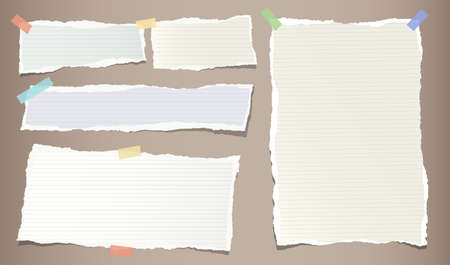 Colorful pastel, ripped note, copybook, notebook paper strips stuck with sticky, adhesive tape on brown .