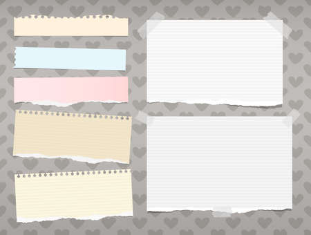 White and colorful ripped ruled, striped note, copybook, notebook paper stuck on background created of hearts shape.