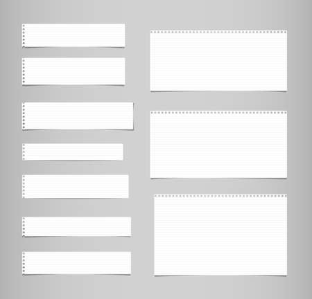 White ruled, lined note, copybook, notebook paper strips stuck on grey background.