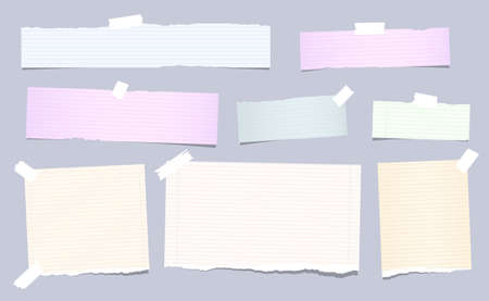 Colorful pastel, ripped, squared note, copybook, notebook paper strips stuck with sticky, adhesive tape on brown background.