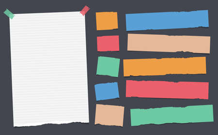 Colorful, ripped, note, copybook, notebook paper strips stuck with sticky, adhesive tape on black background. Illustration