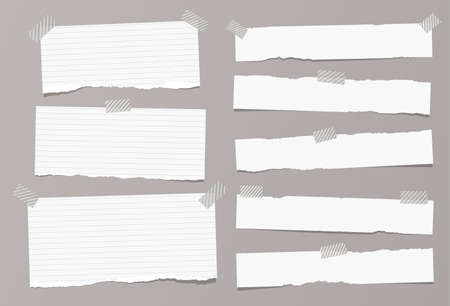 White ripped ruled, lined note, copybook, notebook paper strips stuck with sticky, adhesive tape on grey background. Illustration