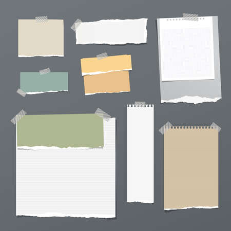 White and colorful striped note paper, copybook, notebook sheet stuck with adhesive tape on dark gray background.