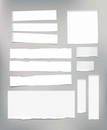 White striped note paper, copybook, notebook sheet stuck on light gray background. Illustration