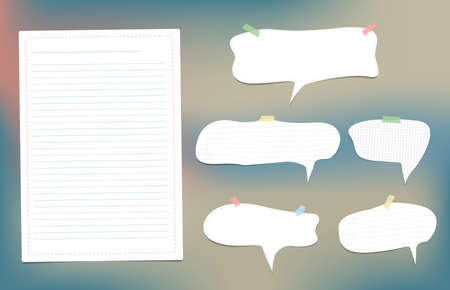 White speech bubbles note, copybook, notebook paper with dashed line stuck