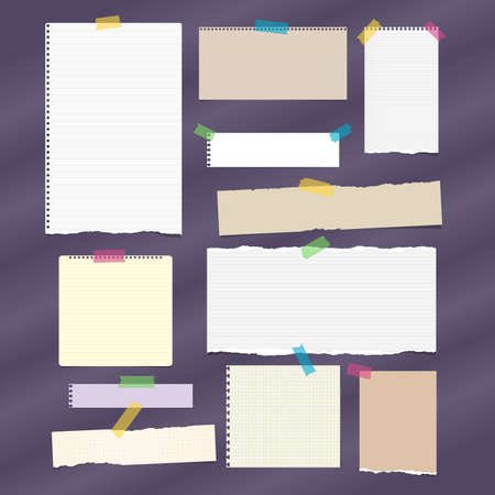 Torn ruled note, notebook, copybook paper strips, sheets stuck with sticky tape on dark purple background. Çizim