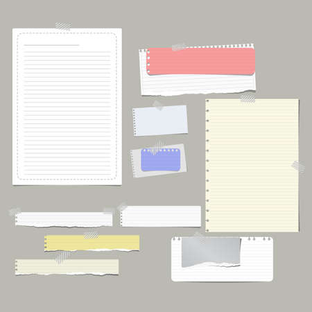 Torn ruled, note, notebook, copybook paper strips, sheets stuck with sticky tape on gray background.
