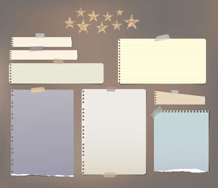 Note, notebook, copybook paper strips, sheets stuck with sticky tape on brown background with stars.