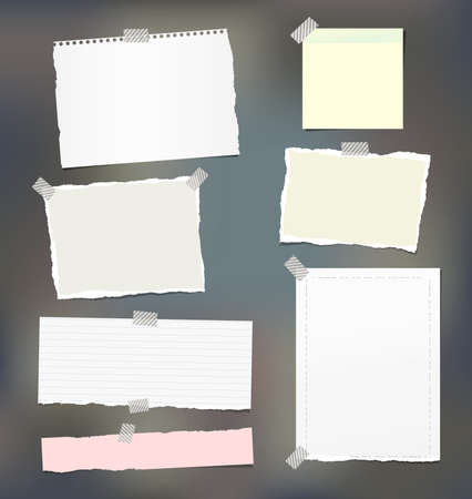Torn note, notebook, copybook paper strips, sheets stuck with sticky tape on colorful background. Illustration