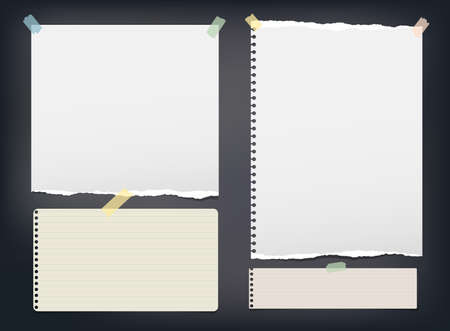 Ripped note, notebook, copybook paper strip, sheets stuck with colorful sticky tape on black background.