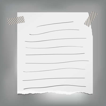 Ripped note, notebook, copybook paper sheets with strips stuck on gray background.