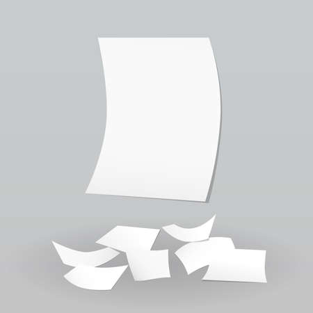 collect: White paper sheet stuck on wall and fallen on floor. Illustration
