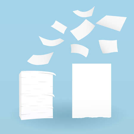 collect: Stack of white sheets and flying ripped paper on blue background. Illustration